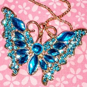 Large Crystal Blue Butterfly Necklace